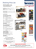 Shelving price list